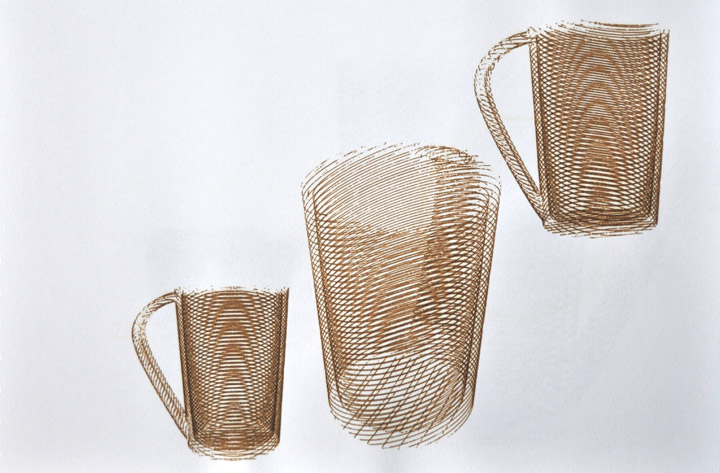 Laser Drawing of Leach Tableware Large Tableware Mug: Comparitive Sketches